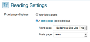 Front Page settings in WordPress